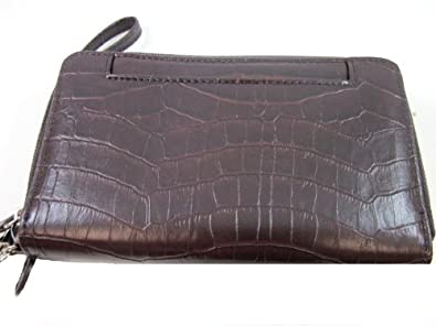 Mundi Brown Croco Big Fat Wallet W/ RFID Blocking Safe Keeper