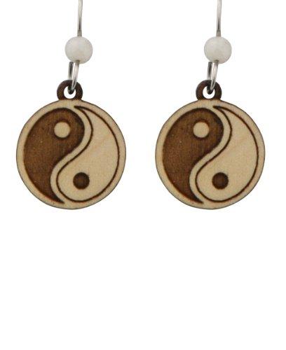 Laser Cut Maple Wood Yin Yang Earrings with Amazonite Bead