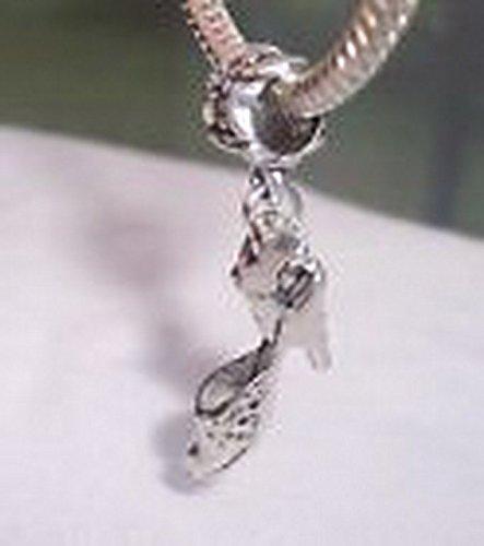Beads Hut - High Heel Shoe Sling Back Pump Dangle Bead fits Silver European Charm Bracelets