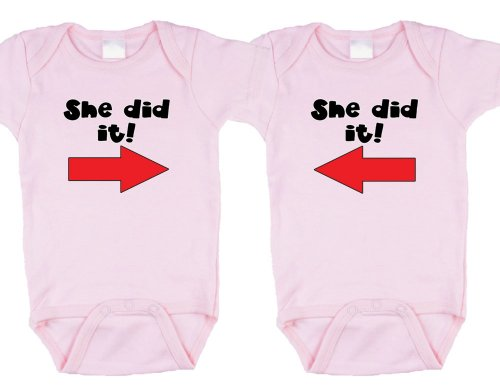 Twin Girls Gift Set (Includes 2 Pink Bodysuits -She Did It!, Size 6-12 Mo)