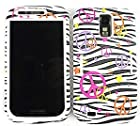 Samsung Galaxy S II S2 S-2 / SGH-T989 T-Mobile TMobile / Hercules Black and White Zebra Animal with Colorful Peace Sign Symbol Stars Design Hybrid Snap-On Jelly Skin Gel and Hard Protective Cover Case Kickstand / Kick Stand Cell Phone (Free by ellie e. Wristband)
