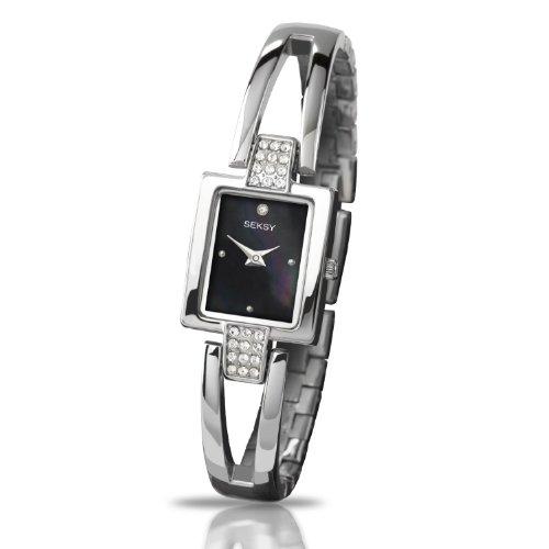 Ladies Seksy by Sekonda Watch Mother Of Pearl Dial Swarovski Crystal Stone Set Bracelet Watch 4201
