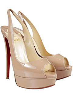 Amazon.com: Christian Louboutin Nude Patent Leather Shoes Very ...