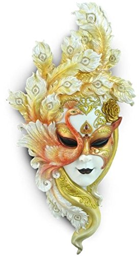 22.13 Inch Peacock Mask Decorative Wall Plaque, White and Gold Color