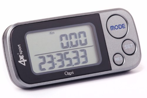 HVGAW8 Ozeri 4x3sport Digital Pocket 3D Pedometer with Tri-Axis Technology and 30 Day Memory, Gray/Black, 2 Pedometers