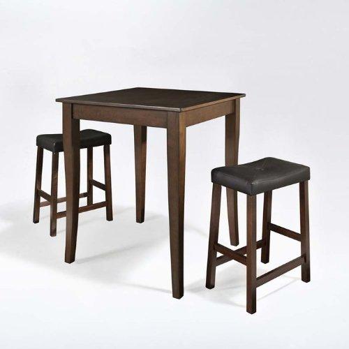 Crosley 3-Piece Pub Dining Set with Cabriole Leg and Upholstered Saddle Stools, Vintage Mahogany Finish