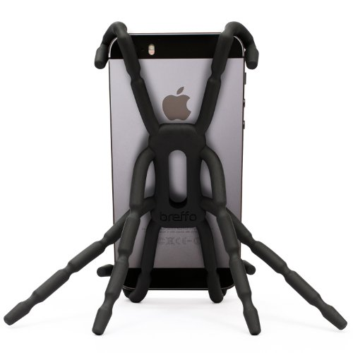 Breffo Spiderpodium Flexible Grip/Mount Car Phone Holder and Dock for iPhone 4/5/Samsung S4 - Black