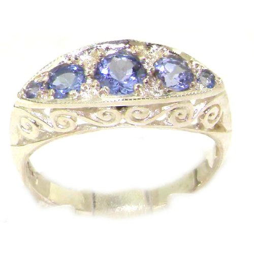 Carved Solid English Sterling Silver Natural Tanzanite Ring - Size 12 - Finger Sizes 5 to 12 Available - Suitable as an Anniversary ring, Engagement ring, Eternity ring, or Promise ring