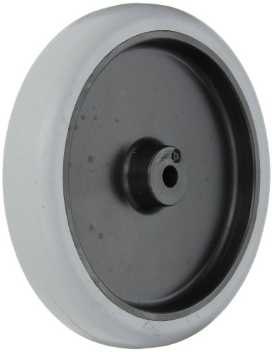 "Shepherd 007313 Regent/Monarch 5"" Diameter x 1"" Width Thermoplastic Rubber Wheel with Plain Bore Bearing, 150 lbs Capacity, Gray on Black - 1"