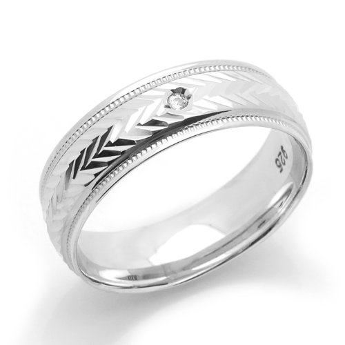 Sterling Silver Wedding Band 5MM Diamond-Cut Patterned Single Stone Comfort Fit Ring - Size 8