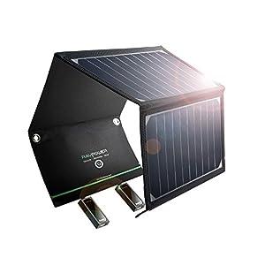 ソーラー充電器 RAVPower 超軽量 16W 2ポート 折りたたみ式 ソーラーパネル 防災 非常用 ソーラーチャージャー iPhone iPad Galaxy S8 など スマホ タブレット モバイルバッテリー 対応 スマホ用充電器 アウトドア用