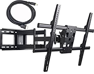 VideoSecu MW380B2 Full Motion Articulating Dual Arms TV Wall Mount Bracket for 32-70 Inch LED, LCD and Plasma HDTV