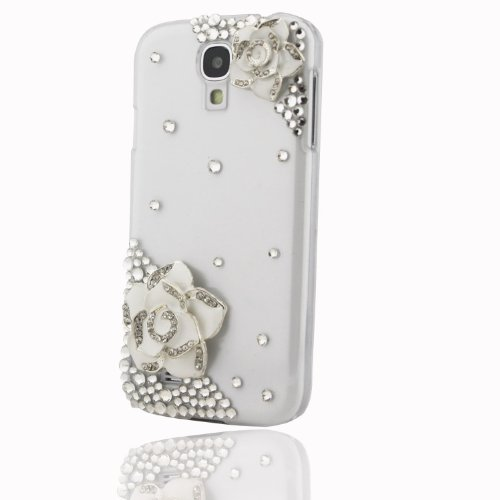 Coco Hand-made Durable Hard Crystal Bling Clear Case Skin Cover White Flower for Samsung Galaxy S4 i9500