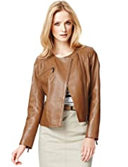 Autograph Leather Double Breasted Biker Jacket