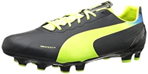 PUMA Men's Evospeed 4.2 FG Soccer Cleat,Black/Fluorescent Yellow,9.5 D US