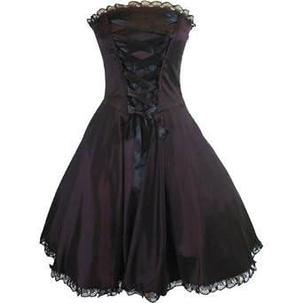 Amazon.com: Skelapparel Plus Size Gothic Rockabilly Purple Satin