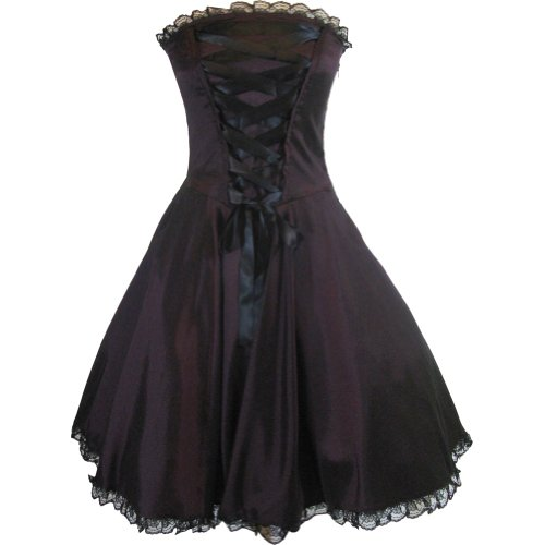 Chicstar Plus Size Gothic Rockabilly Purple Satin Corset