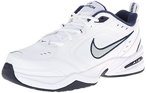 Nike Men's NIKE AIR MONARCH IV (4E) RUNNING SHOES -10;   White / Metallic Silver-Midnight Navy (Nike Air compare prices)