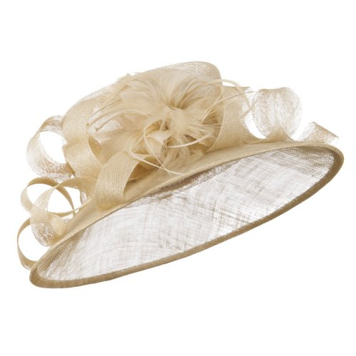 Curl Bow Feather Sinamay Hat - Champagne W26S44E