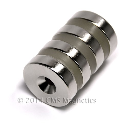 "4 Ct. Cms Magnetics® N42 Dia 1""X1/4"" Neodymium Magnets W/ 1 Countersunk Hole For #10 Screw front-514289"