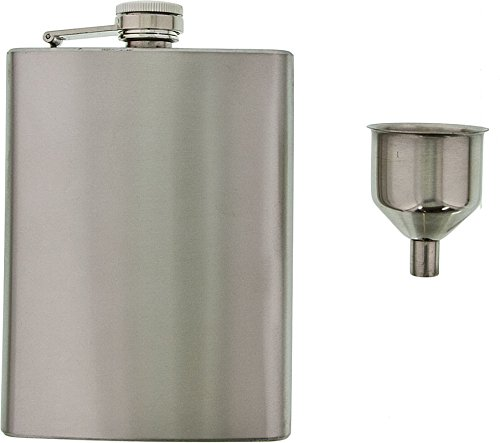 Se - Hip Flask & Funnel Set - Stainless Steel, 8 Oz, 2 Pc