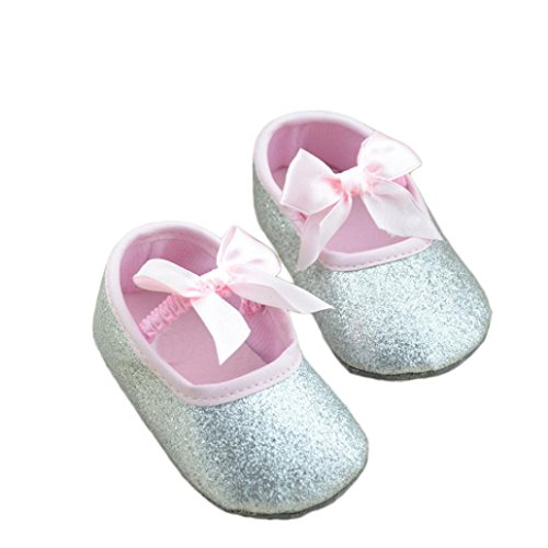 Clode® Scarpe Glitter Bambino Sneaker Antiscivolo Morbida Sole Bambino (12CM, Argento)