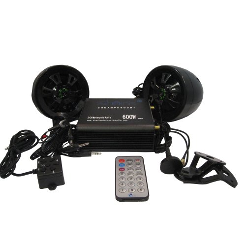 Shark Shkamp5800Bt6160 Black 600 Watt Bluetooth Motorcycle Marine Audio System W/ 3.5 Speakers + Wired / Wireless Remote+Antenna. Full System. Easy Install. Mirror Brackets Included