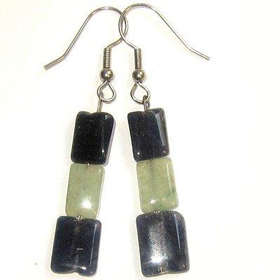 Aventurine Earrings 19 Dangle Blue Green Beaded Gemstone Crystal Healing 2.4