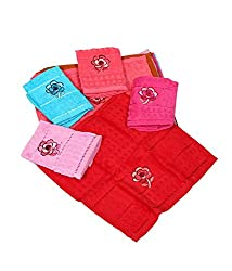 Kuber Industries Towel Women Handkerchief Set of 6 Pcs (Embroidry)