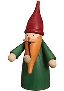 German incense smoker gnome green, height 16 cm / 6 inch, original Erzgebirge by Seiffener Volkskunst from Seiffener Volkskunst eG