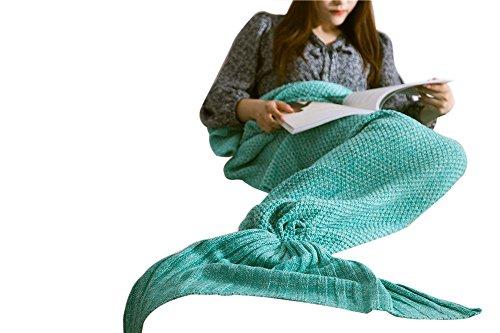 Meerjungfrau Decke, Handgemachte Häkeln Meerjungfrau Flosse Decke für Erwachsene, Mermaid Blanket alle Jahreszeiten Schlafsack (71''x35'',Grün) thumbnail