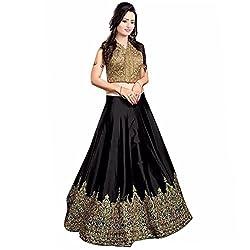 Pramukh Suppliers Women's Lehenga Choli Black_