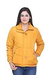 Trufit Full Sleeves Solid Women's Yellow Polyester Basic Casual Bomber Jacket