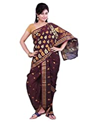 ISHIN 8 Meter Ready to wear Navari Polly silk Brown Saree