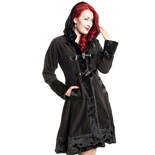 Industries Poizen Emo stile gotico sfacciata appendiabiti da donna nero da donna pelliccia pulsante Cosy