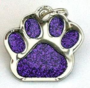 Glitter Pet Tag Purple Paw Print Design 26mm S/Steel From Melian - MESSAGE US WITH TEXT REQUIRED