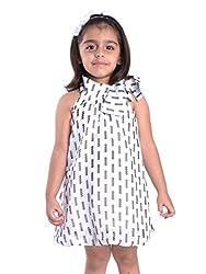 Oye Girls Dress with Tie-up Neck - White (1-2Y)