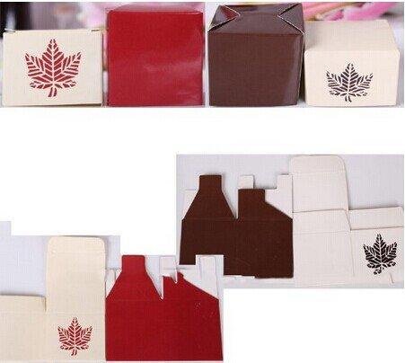 50pcs Fall Leaf Wedding Bridal Favor Candy Gift Boxes Box Wedding ...