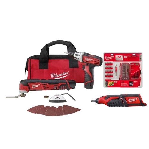Milwaukee 2496-22RT M12 3-Tool Combo Kit with Free Bit Set