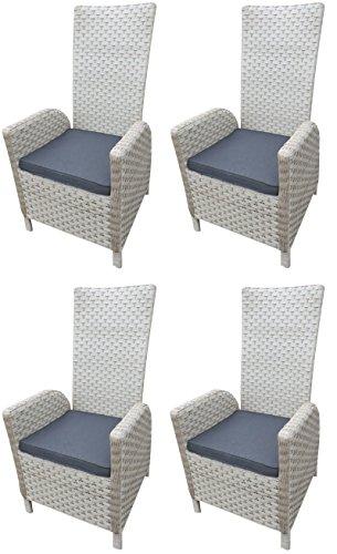 4 x Alu Polyrattan Dining Sessel