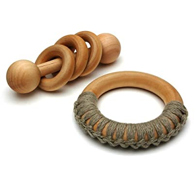 Organic Montessori Wooden Baby Rattle and Teething Ring Set from Quality Montessori