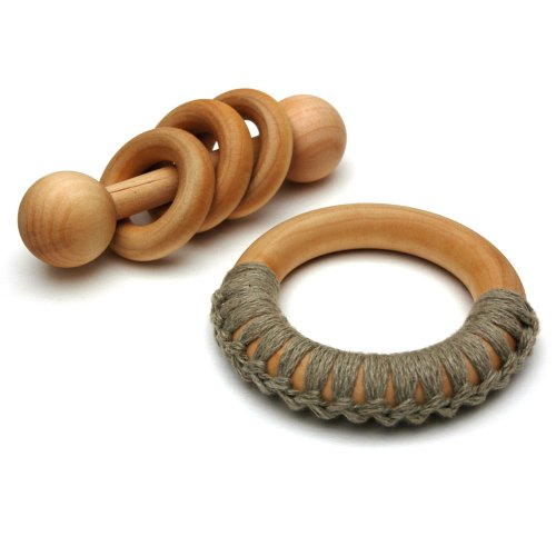 Montessori Organic Wooden Baby Toy Gift Set - Rattle & Teething Ring