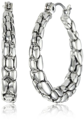 Napier Silver-Tone Textured Click-it Hoop Earrings