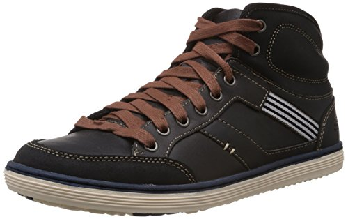 Skechers Men's Sorino-Lozano Relaxed Fit Lace Up Black Leather 10 M US