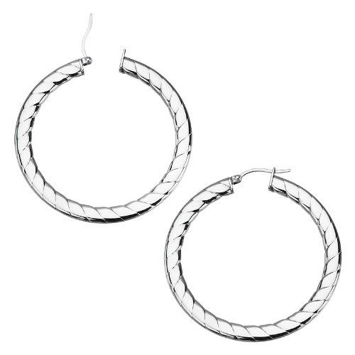 50mm- Inox Jewelry Stainless Steel Swirl Flat Hoop Earrings