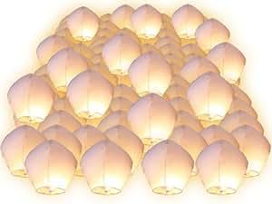Lot de 100 pièces Lanternes dans le ciel blanches chinoises fête