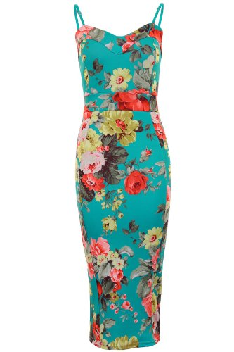 Ladies Strappy Floral Flower Print Knee Length Women's Bodycon Fitted Midi Dress [Floral Print, UK 10]