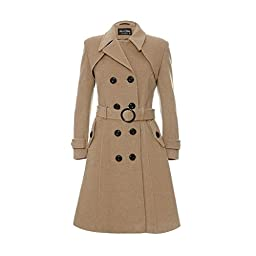 De La Creme Women\'s Wool & Cashmere Winter Long Belted Coat, Size 8, Camel