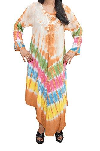 mogul-interiordamen-kaftan-batik-sleeve-kleid-gr-brust-44-orange