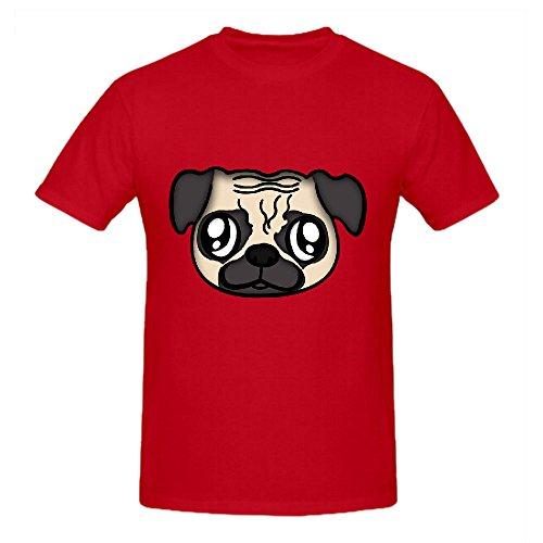 Draw a Pug Shirts 100 Cotton Men Round Neck Red Art (Pinky Pie Adult Shirt compare prices)